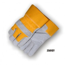 Select shoulder cowhide, work glove, yellow back and cuff, PE cuff, full features