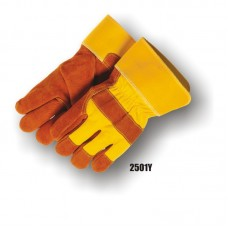 Split Cowhide Palm, Knuckle Strap, Wing Thumb,PE (polyethylene) Safety Cuff, Yellow/Brown