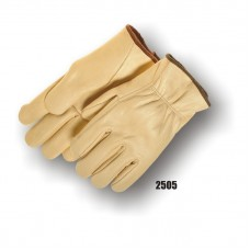 B Grade Grain Cowhide Drivers Glove, Straight Thumb, Color Coded Bias tape