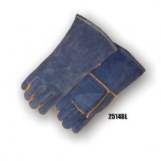 Side Split Cowhide, Wing Thumb, Kevlar Sewn, Blue