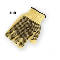 Kevlar Knit, Pvc Dots Both Sides, Knit Wrist, Medium Weight, Yellow. Fingerless
