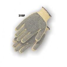 Kevlar Cotton Plated Knit, Pvc Dots Both Sides, Knit Wrist, Medium Weight, Yellow