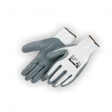 Foamed Nitrile Palm Coated, Seamless 13 Gauge Nylon Liner, Gray On White