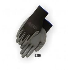 Nylon Knit, Nitrile Palm Dipped, Knit Wrist, Black/Gray Gauntlet Cuff Pu Coated