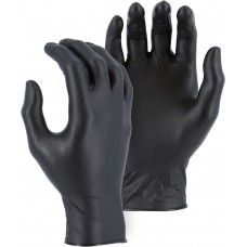 Black Super Grip Disposable Gloves with Embossed Fish Scale Pattern,