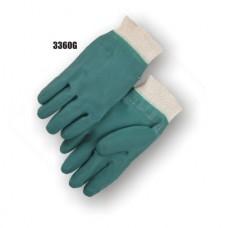Pvc/Nitrile Blend Dipped, Irregular Finish, Interlock Lined, Knit Wrist, Green