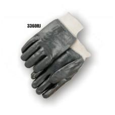 Pvc Dipped, Rough Finish, Jersey Lined, Knit Wrist, Black