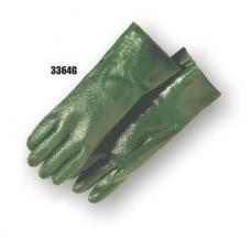Pvc/Nitrile Blend Dipped, Irregular Finish, Interlock Lined, 14 Inch, Green