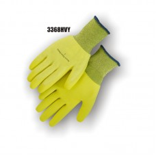 Lightweight, 13 gauge palm and palm dipped knit. Hydro-pellent repels water, High Visibility