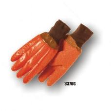 Pvc Dipped, Gritty Finish, Foam Lined, Knit Wrist, Orange