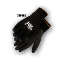 Winter/freezer wear heavyweight napped terry, black knit with foam latex dipped palm.