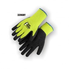 Hi-Vis Terry Lined Yellow Knit, Rubber Palm, Excellent Wear and Resistance, Super Fit, Sizes S-XL