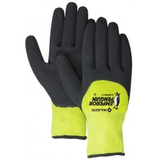Waterproof winter glove. 15 gauge shell, 10 gauge insulated liner. 3/4 sandy latex dip palm.