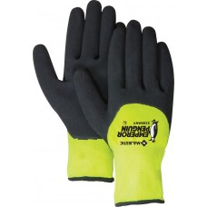 Waterproof winter glove. 15 gauge shell, 10 gauge insulated liner. 3/4 sandy nitrile dip palm.