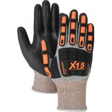 Dyneema Cut Resistant Knot, Ring Spun, Black Polyurethane Palm Dip, Color Coded Hem, TPR Impact protection
