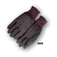 Jersey, Mini Pvc Dots On Palm & Index Finger, Knit Wrist, Brown