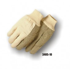 Polyester/Cotton Canvas Gloves, 10 Ounce, PVC Dots, Knit Wrist
