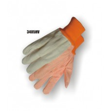 Cotton Canvas, 10 Ounce, Hi Vis Orange Pvc Dots On Palm & Index Finger, Knit Wrist