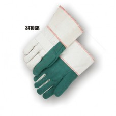 Cotton, 28 Ounce Quilted Palm & Index Finger, 10 Ounce Back, Knuckle Strap, Gauntlet Cuff