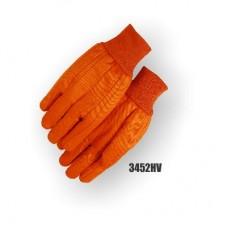 12 OZ. High Vis orange clute cut cotton, work glove straight thumb, knit wrist. Orange