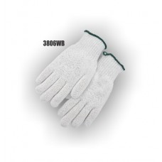 String Knit, Cotton/Polyester, Ambidextrous, Medium Weight, Bleach White