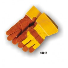 Regular Select Shoulder Split Cowhide Palm, Knuckle Strap, Wing Thumb, Safety Cuff, Yellow/Brown