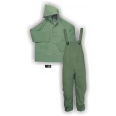 Rainsuit, Pvc/Poly, Bib Overall, Jacket, Hood, Corduroy Color, 35mm, Green