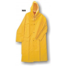 Raincoat, Pvc/Poly, With Hood, Corduroy Collar, 35mm, Yellow