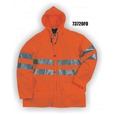 Flexothane Waterproof Class 3 Jacket With Hood, Fluorescent Orange, 3M Reflective Striping
