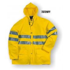 Flexothane Waterproof Class 3 Jacket, With Hood, Fluorescent Yellow, 3M Reflective Striping