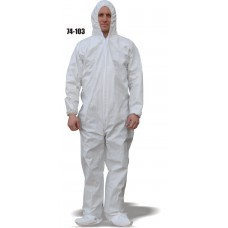 Micro-porous Coverall, Elastic Wrist and Ankles, Attached Hood and Boots, Breathable