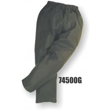 Flexothane pants, elastic waist, no fly, adjusment snaps at the ankle, waterproof