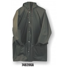 M-Safe PU Rainwear, Flexible Jacket w/ Hood Snaps, Green