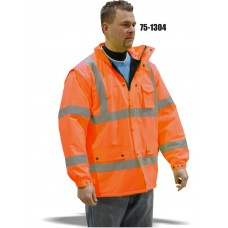 Cold weather parka/vest designed to keep out the wet and the cold Orange,