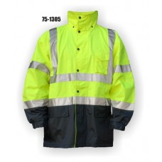 High Visibility Parka. PU coated polyester with fully taped seams and concealed, Yellow
