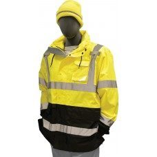 High Visibility Parka, 300 Denier PU coated polyester, vented back, D-Ring pass through