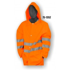 High Visibility rain jacket is 100% polyester ORANGE, LEVEL 3