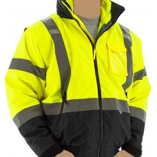 HI-VIS Transformer 8 in 1 Bomber Jacket with Fleece Jacket and Black Bottom, ANSI Class 3, Type R