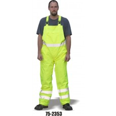 Hi-Vis Yellow Rain Bib Overall, ANSI / ISEA 107-2010 Class E compliant 100% Polyester, Yellow
