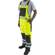 High visibility yellow/black quilted, insulated waterproof bib overall