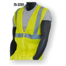 Yellow Class 2, Mesh Fabric Vest, Silver Reflective Striping, Zipper Closure