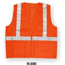 Orange Class 2, Mesh Fabric Vest, Silver Reflective Striping, Zipper Closure