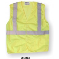 Yellow Class 2, Mesh Fabric Vest, Silver Reflective Striping, Velcro Closure
