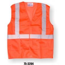 Orange Class 2, Mesh Fabric Vest, Silver Reflective Striping, Velcro Closure