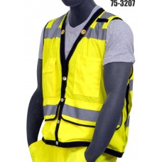 Yellow Heavy Duty Vest, High Visibility, Class 2, Document Pocket On The Back Of The Vest