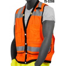 Orange Heavy Duty Vest, High Visibility, Class 2, Document Pocket On The Back Of The Vest