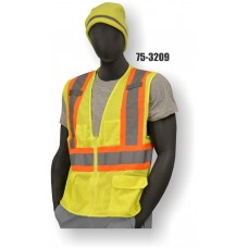 Yellow Mesh Surveyor Style Vest, High Visibility, Class 2, Zipper