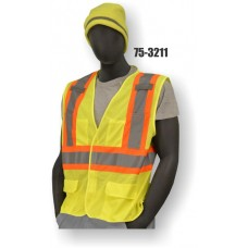 Yellow Mesh Surveyor Style Vest, High Visibility, Class 2, Velcro