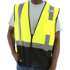 High Visibility Mesh Vest with Black Bottom and reflective striping