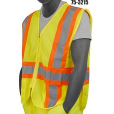 Yellow Mesh Vest, Zipper Front and Velcro Adjustable Sides, 2-Tone Striping, Class 2
